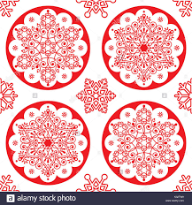 christmas vector folk pattern red snowflake mandala seamless