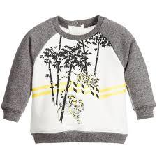 kenzo ivory u0026 grey tiger sweatshirt childrensalon baby