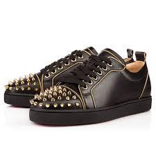 christian louboutin rush spike flat leather black gold louboutin