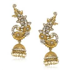 ear cuffs india buy meenaz peacock kundan ear cuff with jhumki gold rhodium