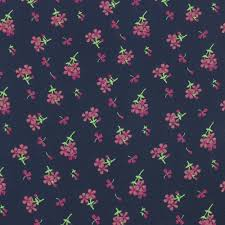 navy and fuschia floral print on wool dobby chiffon fabric