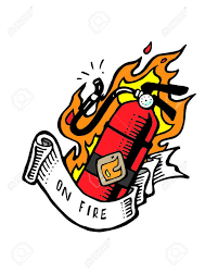 ribbon with words vector illustration or drawing of a extinguisher