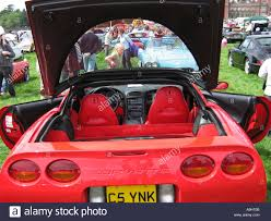 lifted corvette red corvette at classic car show capesthorne hall cheshire england