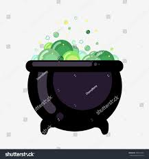 witch bucket boiling green liquid witchs stock vector 468315656