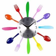 Modern Clocks For Kitchen by Creative Modern Multi Color Fork Spoon Kitchen Cutlery Wall Clock