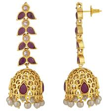 gold jhumka earrings design with price buy spargz wedding wear brass gold plated matte finish ruby with