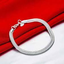 silver chain bracelet men images Fashion 925 silver plated jewelry chain bracelet men women h510 ebay jpg