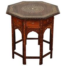 Folding Side Table Anglo Indian Folding Rosewood Inlaid Octagonal Side Table For Sale