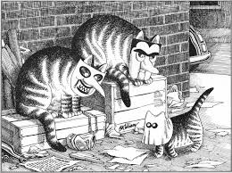 b kliban cat original vintage art print halloween trick or