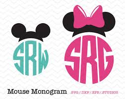 minnie mouse monogram mouse ears personalized circle monogram svg dxf eps
