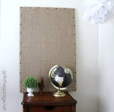 burlap message board inspired by ballard designs in the garage
