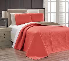coral medallion reversible bedspread quilt set