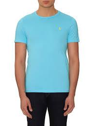 ralph lauren light blue lyst polo ralph lauren logo embroidered cotton t shirt in blue for men