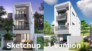 narrow house design sketchup exterior modeling w4 2m n02 youtube