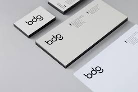 edge painted business card and compliment slip for bdg designed by