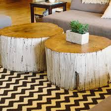 Round Chevron Rug by Round Whitewashed Tree Trunk Coffee Table On Black White Chevron