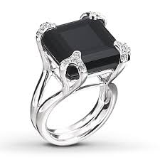 large black rings images Jared black onyx ring 1 4 ct tw diamonds sterling silver jpg