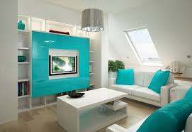 turquoise attic family and media room idea for comfy look fun