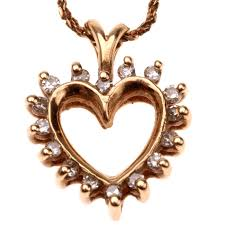 diamond heart gold necklace images Gold diamond heart outline necklace pendant collect jpg