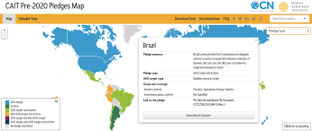 Target World Map by Tracking 2020 Climate Action Pledges On The Road To Paris World