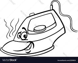 Hot Iron Cartoon Coloring Page Royalty Free Vector Image Coloring Page Iron