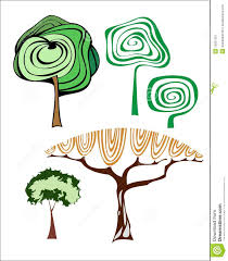 set of creative trees royalty free stock photography image 13601267