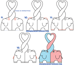 learn how to draw cute kawaii chibi elephants in love forming a