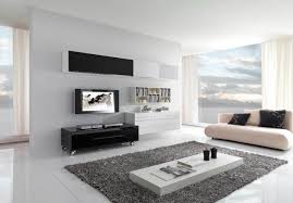 living room white tile flooring gray rug white sofa black tv