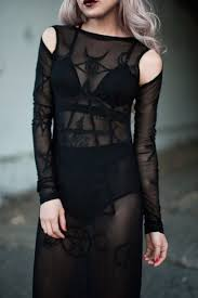 Halloween Costume Dress Goth Black Sheer Pentagram Witch Black