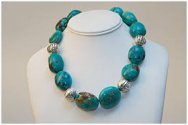 stone turquoise necklace images Very large turquoise stones and silver beads necklace julie jpg