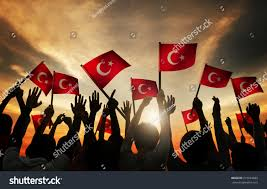 Holding The Flag Silhouettes People Holding Flag Turkey Stock Foto 215933683