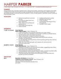 resume objective exles for service crew best restaurant crew member resume exle livecareer