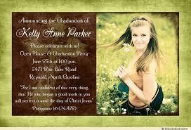 christian graduation announcements cross graduation invitation faith meadow stylish green brown