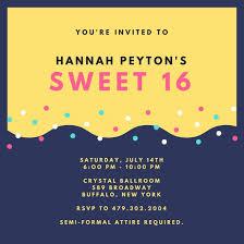 bright sweet 16 invitation templates by canva