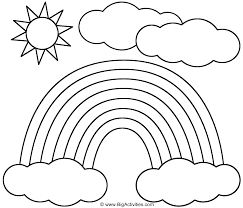 rainbow sun and clouds coloring page st patrick u0027s day
