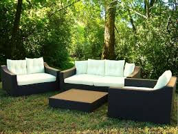 relaxing 4 piece black modern patio furniture set with low height