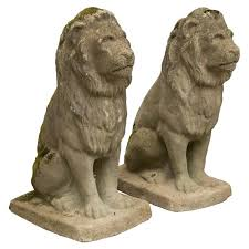 lion statues for sale pair of modestly scaled vintage cast seated lion statues for