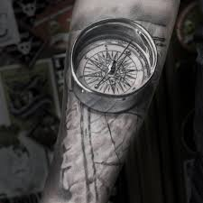 tattoo compass realistic realistic 3d compass map on guys forearm best tattoo design ideas