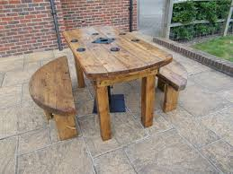 outdoor tables made out of wooden wire spools awesome cable drum table and bench sets great inside or out unique