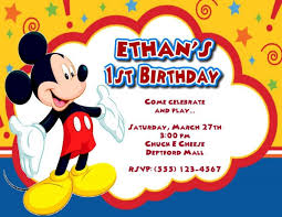 template mickey mouse 1st birthday invitation card together with