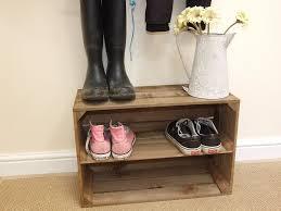 Shoe Shelf Bench by Applecratescouk Wooden Apple Crate Shoe Rack Handmade In Dorset