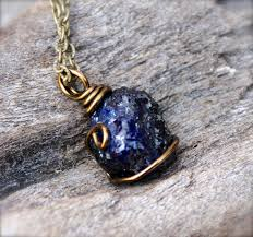 blue sapphire stone necklace images Dark blue sapphire necklace raw stone from mermaid tears jpg