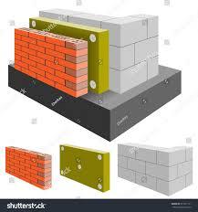 brick wall house insulation cut arrangement stock vector 371021111