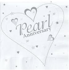 30 wedding anniversary napkins 18 x luxury pearl 30th wedding anniversary