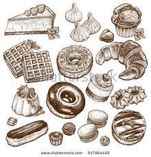 desserts set vector illustration cakes biscuits stock vector