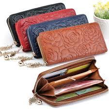 leather women s wallet pattern hot selling flower pattern women s wallets genuine leather clutch