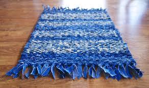 Denim Rag Rug Denim Rag Rug Medium Size Cotton Twined Rag Rug Blue Yellow Blue