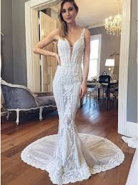 ivory lace wedding dress mermaid v neck sweep backless ivory lace wedding dress