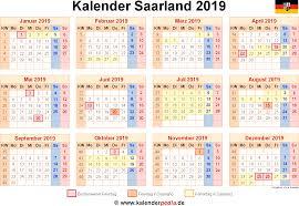 Kalender 2018 Mit Feiertagen Saarland Kalender 2019 Saarland Ferien Feiertage Excel Vorlagen