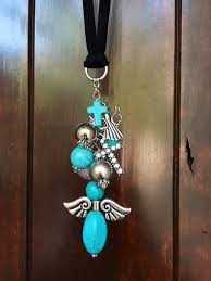 Personalized Rear View Mirror Charms Angel Rear View Mirror Charm Turquoise Guardian By Thebadabling